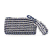 Soda pop-top wristlet bag, 'Navy Blue Spark' - Aluminum Recycled Soda Pop Tab Wristlet Bag