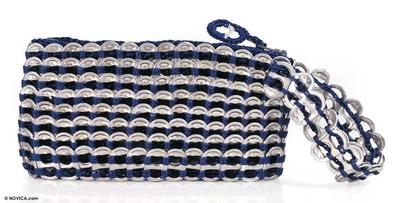 Novica Soda pop-top wristlet bag, Navy Blue Spark - Aluminum Recycled Soda Pop Tab Wristlet Bag