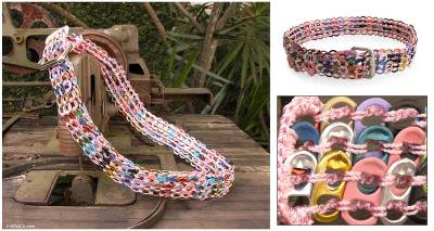Soda pop-top belt, Multicolor Armor Chain Mail in Pink