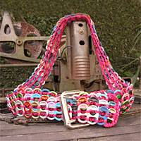 Soda pop-top belt, 'Multicolor Armor Chain Mail in Dark Pink' - Soda pop-top belt