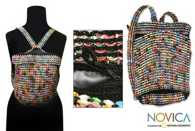 Soda pop-top backpack, 'Autumn Rainbow' - Brazil Recycled Aluminum Eco Art Backpack
