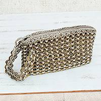 Soda pop-top wristlet bag, 'Golden Hope and Change'