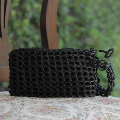 Soda pop-top wristlet bag, 'Ebony Hope and Change' - Artisan Crafted Recycled Aluminum Wristlet