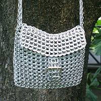 Silver pop-top shoulder bag, 'Silver Success' (long strap) - Women's Recycled Aluminum Flap Handbag from Brazil