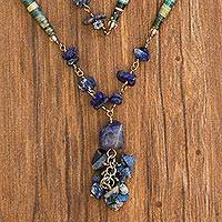 Sodalite long necklace, 'Love Story' - Sodalite Long Necklace Brazil Recycled Art