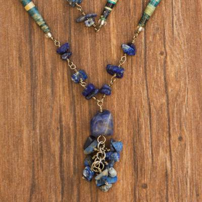 Sodalite long necklace, Love Story