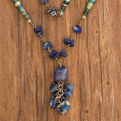 Sodalite long necklace, 'Love Story' - Sodalite Long Necklace Brazil Recycled Art