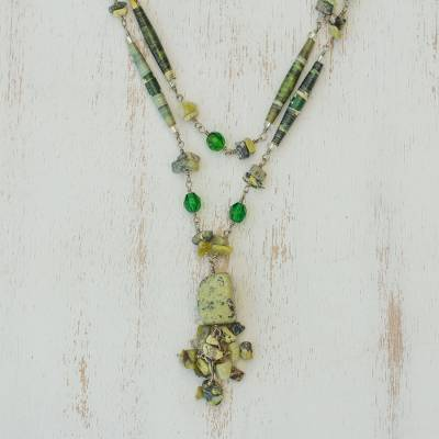 Serpentine long eco-necklace, 'Story of Hope' - Handcrafted Recycled Paper and Serpentine Necklace