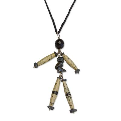 Hematite long necklace, 'Puppet of Happiness' - Hematite long necklace