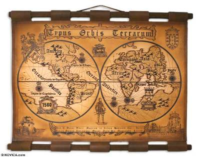 Leather map the world in 1560 novica leather map the world in 1560 leather map gumiabroncs Gallery