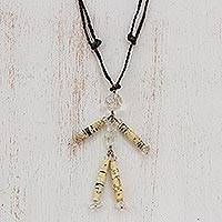 Quartz long necklace, 'Story of Peace' - Quartz long necklace