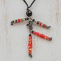 Hematite long necklace, 'Red Puppet' - Hand Made Recycled Paper Pendant Necklace