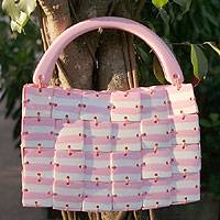 Handbag, 'Pink Candy Stripe' - Handbag