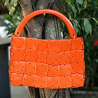 Handbag, 'Tangerine' - Artisan Crafted Brazilian Bright Orange Handbag