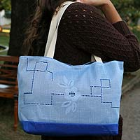Cotton shoulder bag, 'Bluebonnet' - Cotton shoulder bag