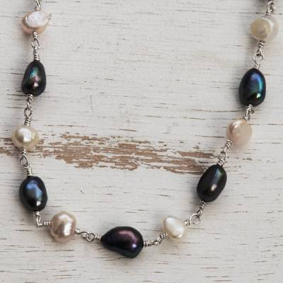 Pearl strand necklace, 'Delicate' - Sterling Silver Pearl Strand Necklace from Brazil