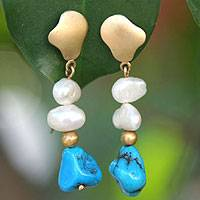 Gold and pearl drop earrings, 'Sea Love' - Gold and pearl drop earrings