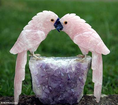 Rose quartz and amethyst statuette, 'Lovebirds' - Artisan Crafted Quartz and Amethyst Bird Sculpture