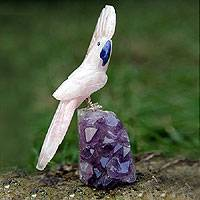 Rose quartz and amethyst statuette, 'Pink Cockatoo' - Carved Rose Quartz and Amethyst Stone Bird Sculpture