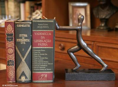 Bronze and marble bookend, 'Hercules' - Handcrafted Bronze Bookend