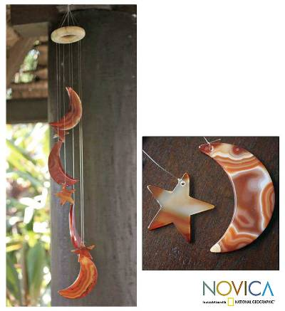 Wind chimes, 'Moon and Stars' - Unique Agate Wind Chimes