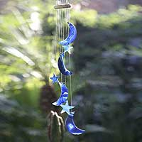 Wind chimes, 'Blue Moon and Stars' - Agate Moon and Stars Wind Chimes