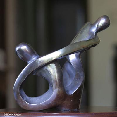 Bronze sculpture, 'Mother and Daughter' - Brazilian Abstract Bronze Sculpture