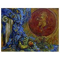 'Italian Scene Still Life' - Still Life Expressionist Painting from Brazil