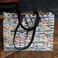 Handbag, 'In the News' - Handcrafted Recycled Paper Shoulder Bag