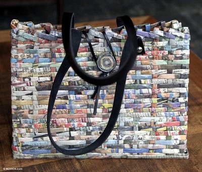 Handcrafted Recycled Paper Shoulder Bag