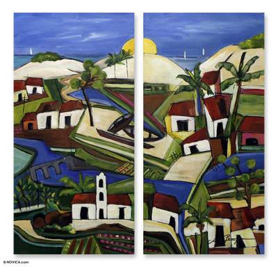 'Sun on the Itaunas Dunes' (diptych) - Landscape Expressionist Painting