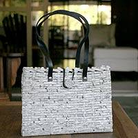 Handbag, 'Want Ads' - Artisan Crafted Recycled Newspaper Handbag