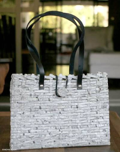 Handbag, 'Want Ads' - Women's Recycled Paper Tote Bag