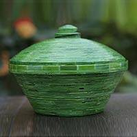 Decorative recycled paper centerpiece, 'Amazonica' - Decorative recycled paper centerpiece