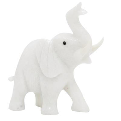 Calcite statuette, 'Royal White Elephant' - Calcite statuette