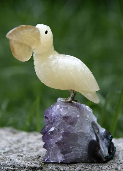 Amethyst and fluorite statuette, 'White Pelican' - Amethyst and fluorite statuette