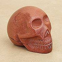 Goldstone statuette, 'Sun Skull' - Goldstone statuette