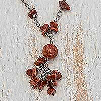 Recycled paper beaded necklace, 'Novel' - Recycled Paper and Goldstone Necklace