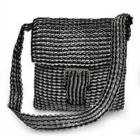 Soda pop-top shoulder bag, 'Copacabana Black' - Soda pop-top shoulder bag
