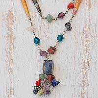 Quartz and sodalite long necklace, 'Recycling Rainbows'