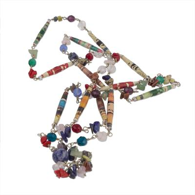 Quartz and sodalite long necklace, 'Recycling Rainbows' - Recycled Paper and Gemstone Y Necklace