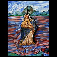 'Our Lady of Succour' - Religious Oil Painting from Brazil