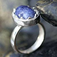 Sodalite cocktail ring, 'Medieval Crown' - Sodalite cocktail ring