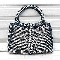 Soda pop-top handbag, 'Blue Power' - Soda pop-top handbag