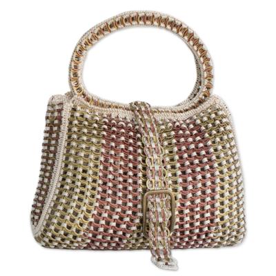 Soda pop-top handbag, 'Twin Power' - Hand Made Recycled Aluminum Soda Pop-Top Handbag
