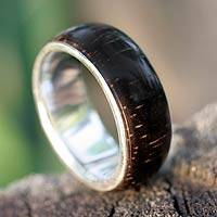 Wood band ring, 'Natural Love' - Handcrafted Brazilian Sterling Silver and Wood Band