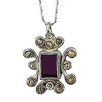 Amethyst pendant necklace, 'Time for You' - Amethyst pendant necklace