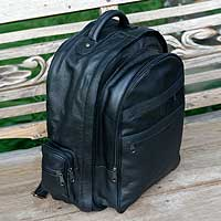 Leather backpack, 'Efficient Black' - Leather backpack