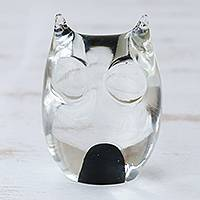 Handblown art glass paperweight, 'Black Crystal Owl' - Murano Inspired Glass Handblown Paperweight