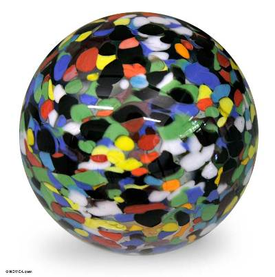 Handblown art glass paperweight, 'Confetti Globe' - Murano Inspired Handblown Paperweight in Multicolor Glass